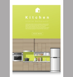 Interior design Modern kitchen banner 3 vector image