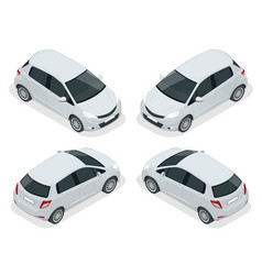isometric subcompact hatchback car high quality vector image