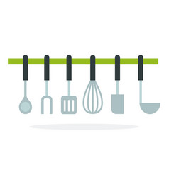 kitchen accessories hanging on ledge flat vector image