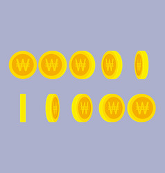Korean won coin rotating animation sprite sheet vector
