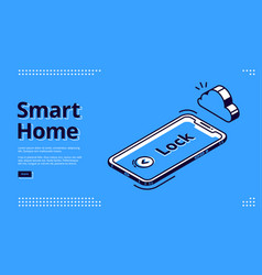 landing page smart home key mobile phone icon vector image