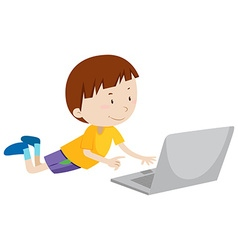 Little boy working on computer vector
