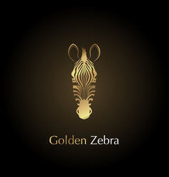 Logo golden head of a zebra vector