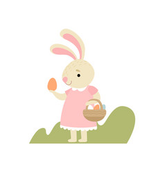 lovely bunny in pink dress with basket full of vector image