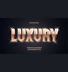 luxury font 3d bold gold style vector image