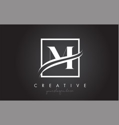 m letter logo design with square swoosh border vector image