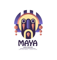 maya logo design emblem with ethnic mask vector image