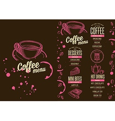 Menu coffee restaurant beverage template placemat vector