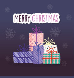 merry christmas celebration wrapped gifts vector image
