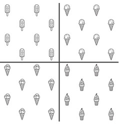 minimalist ice cream seamless patterns set vector image