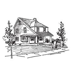 Modern house vintage vector