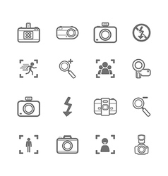 Mono Camera icons and menu Camera icons on White p vector