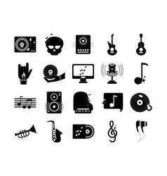 music melody sound audio icons set silhouette vector image
