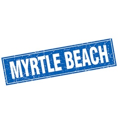 Myrtle beach blue square grunge vintage isolated vector