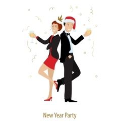 Ney Year or Xmas party line style vector image