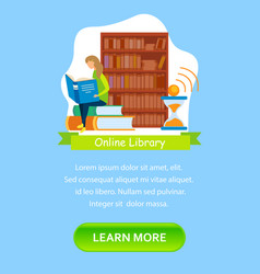 Online e-book store landing page flat template vector