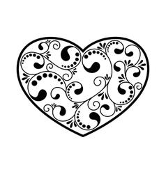 ornamental black heart vector image