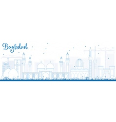 Outline Baghdad Skyline with Blue Buildings vector image
