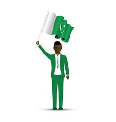 pakistan flag waving man vector image
