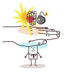 Protecting big hand - cartoon man and terrorism vector