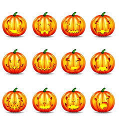 pumpkins with face expressions vector image