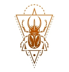 Rhinoceros beetle and geometric elements vector