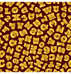 Seamless background of gold letters vector