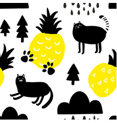 seamless pattern with yellow pineapples and cute vector image