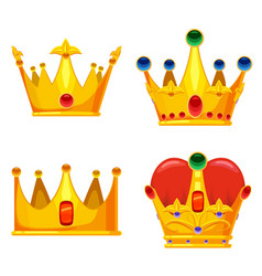 set golden crowns royal jewelry symbol king vector image