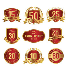 set of anniversary label gold and red vector image