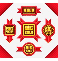 Set of red sale badges vector