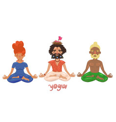 set people in lotus position image vector image