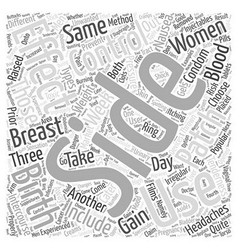 Side Effects of Birth Control Word Cloud Concept vector