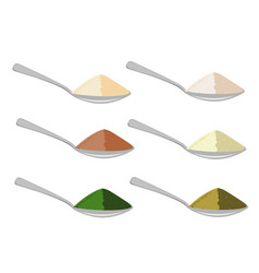 Spoons with differrent sources protein powder vector