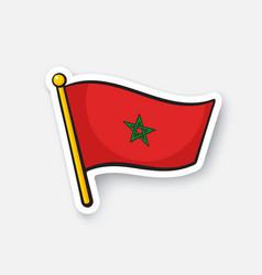 Sticker national flag morocco vector