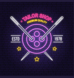 tailor shop neon design or emblem night vector image