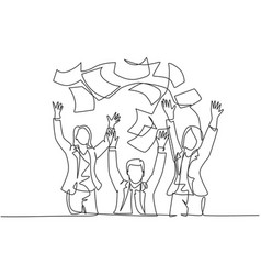 Team work goal concept one single line drawing vector