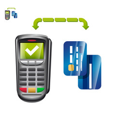 Terminal payment with cards vector