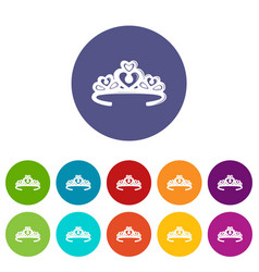 tiara crown icons set color vector image