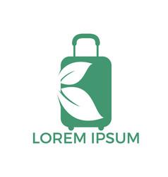 travel bag and leaf logo design vector image