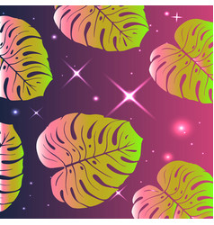 tropical pattern bright exotic leaves vector image