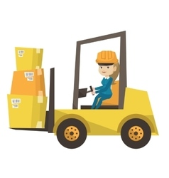 Warehouse worker moving load forklift truck vector