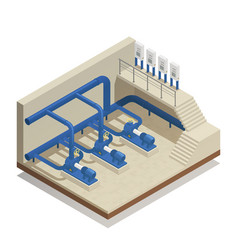 Water cleaning system isometric composition vector