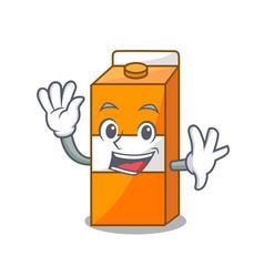 Waving package juice character cartoon vector