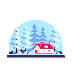 winter landscape with trees and family home vector image