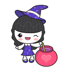 Witch character and love potion halloween day vector