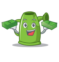 With money watering can character cartoon vector
