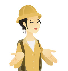 young asian traveler shrugging shoulders vector image