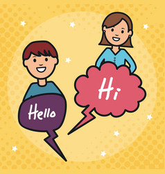young couple with speech bubbles and hello message vector image