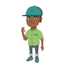 african-american little boy showing ok sign vector image vector image